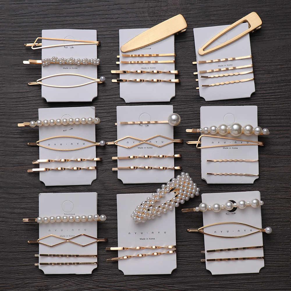 1 Set Metal Minimalist Hair Accessories Geometric Irregular Gold Color Hair Clip Imitation Pearl Hairpin Barrettes Hairgrip Clip