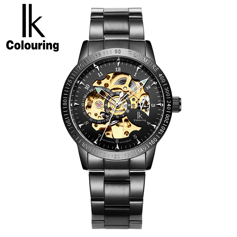IK Colouring Automatic Watch Men Luxury Hollow Skeleton Stainless Steel Luminous Fashion Men Mechanical Watch Relojes Hombre ik luxury fashion casual stainless steel men automatic mechanical watch skeleton watch for men s dress wristwatch free ship