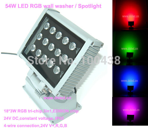 High power,good quality,CE,IP65 54W RGB LED wall washer,RGB LED floodlight,18X3W RGB 3in1,full color,DS-T20A,24VDC