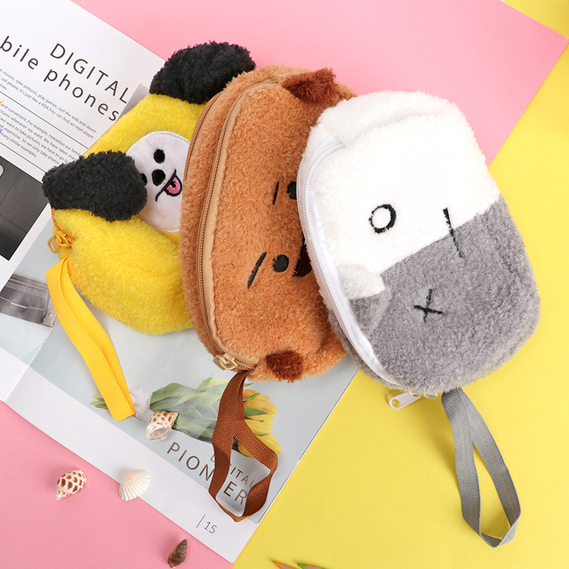 Fans ARMY Gifts KPOP BTS Bangtan Boys BT21 Cosmetic Double-deck Bag Plush Makeup  Pouch Zipper Storage Box For Women Girl 20 14cm 3582678b5e01b