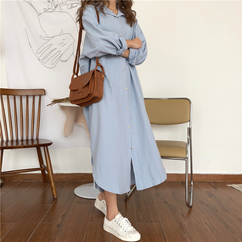 Vintage autumn Long Dress long Sleeve shirt turn down collar woman Lady loose shirt Casual Fashion maxi Dress cotton blue white 7