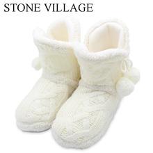 STONE VILLAGE zima kobiety kapcie biały kryty podłoga buty kobiece nowe ciepłe Home kapcie bawełniane kapcie dla kobiet buty C621 tanie tanio Dorosłych Slippers Podstawowe Węzeł motylkowy Tkanina bawełniana KAMIENNA WIOSKA od 0 do 3 cm Płaskie z Płaski (≤ 1cm)