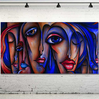 Hand Painted Modern Pop Art Oil Painting People Sex Girl Big Eyes Wall Art Oil Painting Big Eye GIrl Wall Decor Painting