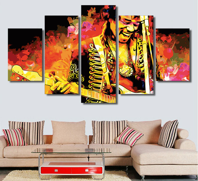 HD Printed canvas framed 5 jimi hendrix music guitarist room decor ...