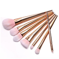 Fashion 7Pcs Silver Rose Gold Soft Hair Makeup Brushes Powder Blusher Foundation Eyeliner Lip Cosmetic Brush Beauty Tools