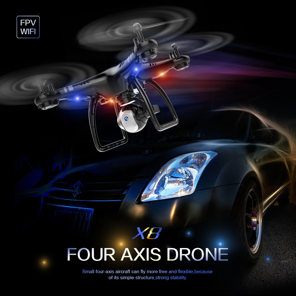 X8 PFV RC Quadcopter Drone 7.4V/1500MAH 4PCS 8520 Motors RTF RC Helicopters Long flight time with 0.3/2MP WIFI Camera or No Came
