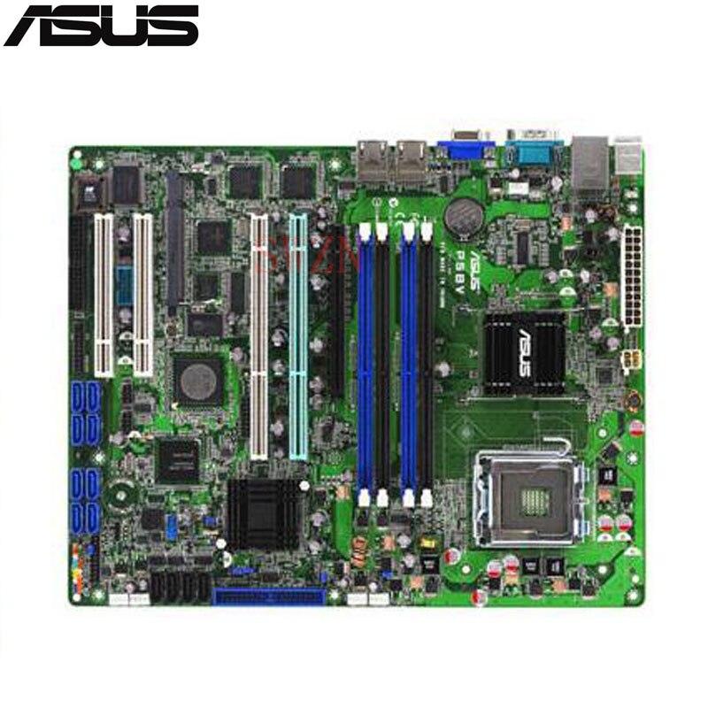 original Used Server motherboard For Asus P5BV/SAS P5BV SAS Socket 775 Maximum 4*DDR2 8GB 4xSATAII ATX for 0ur033 ur033 p1950 ii socket 771 server system motherboard