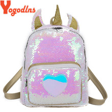 Yogodlns Sequins Unicorn Backpack Fashion Glitter School Book Bag Girls Cute Hologram Laser PU Leather Travel Mochila Casual Bag(China)