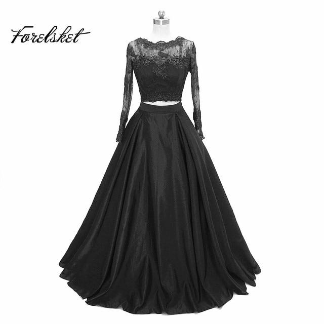 In Fashion Two Piece Black Chiffon Side Split Prom Dresses 2019 Scoop Long  Sleeves Vestido De Festa Formal Party Gowns 649d9600014f