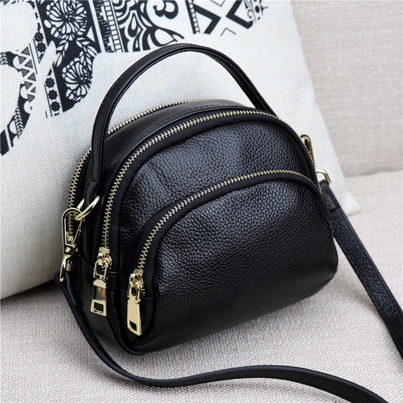 2018 Fashion NEW Genuine Leather Casual Women's shoulder Bag Solid Zipper Cow Leather Messenger Bag the rushed casual polyester unisex zipper solid soft new spring and summer 2017 leather bags bag shoulder messenger retro ms
