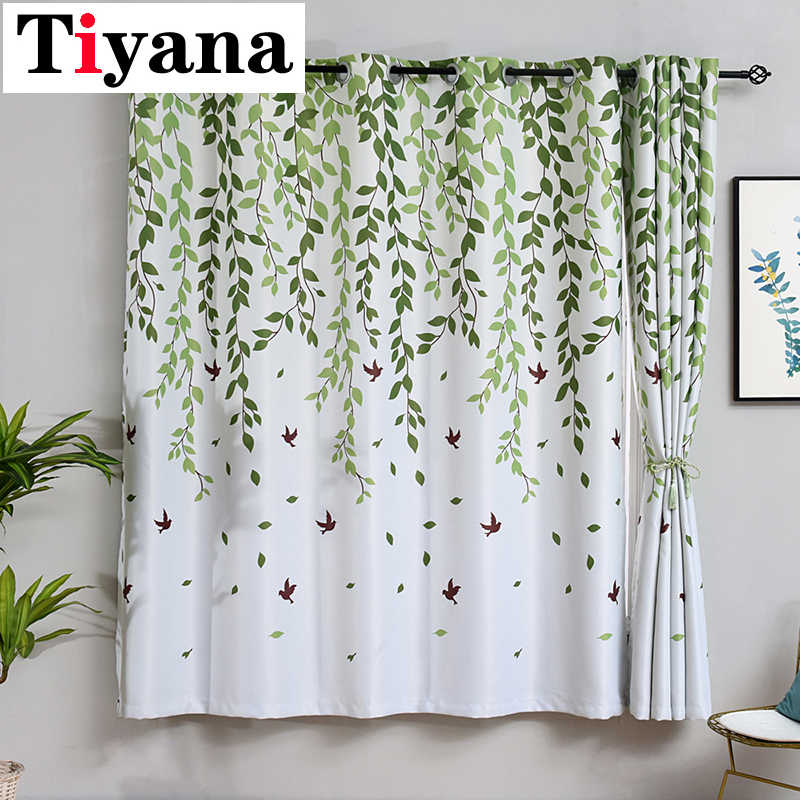 Tiyana Rustic Green Willow Curtains for Kitchen Bedroom Decorations Short Window Curtain Living Room Door Window Drapes PC26Y