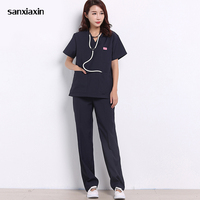 sanxiaxin summer short sleeved surgical clothing oral beauty oral pet doctor uniforms blue suit lab coat pharmacy nurse uniform