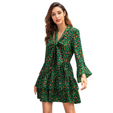 Green Leopard Print Dress Bow Sexy Party Night Club Vintage Flare Sleeve Layered Ruffle A-line Ladies Short Spring Dresses