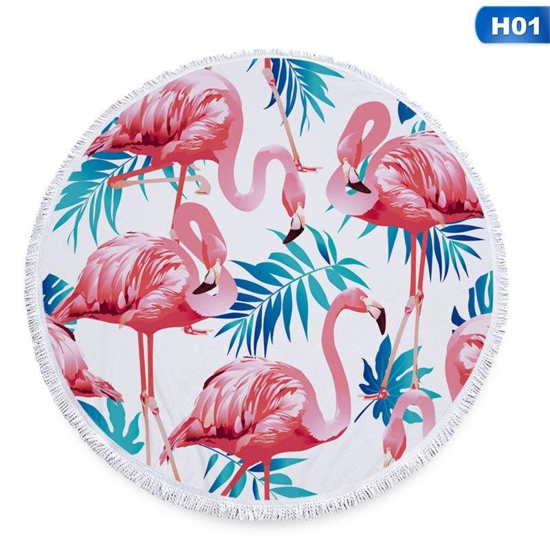 Beminnelijk Nieuwste Stijl Mode Yoga Mat Flamingo Ronde Strandlaken Met Kwasten Microfiber 150 Cm Picknick Deken Mat Tapijt