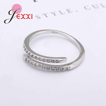 Nice Simple Design 925 Sterling Silver Jewelry Adjustable Ring White Shiny Rhinestone Crystal Ring For Ladies Female 2