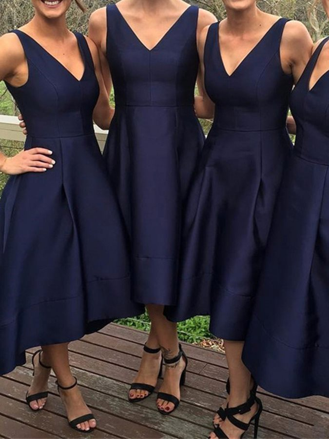 New Simple High Low   Bridesmaid     Dress   2018 Navy Blue Satin Wedding Party   Dresses   V-neck Prom Gowns Vestido De Festa Longo