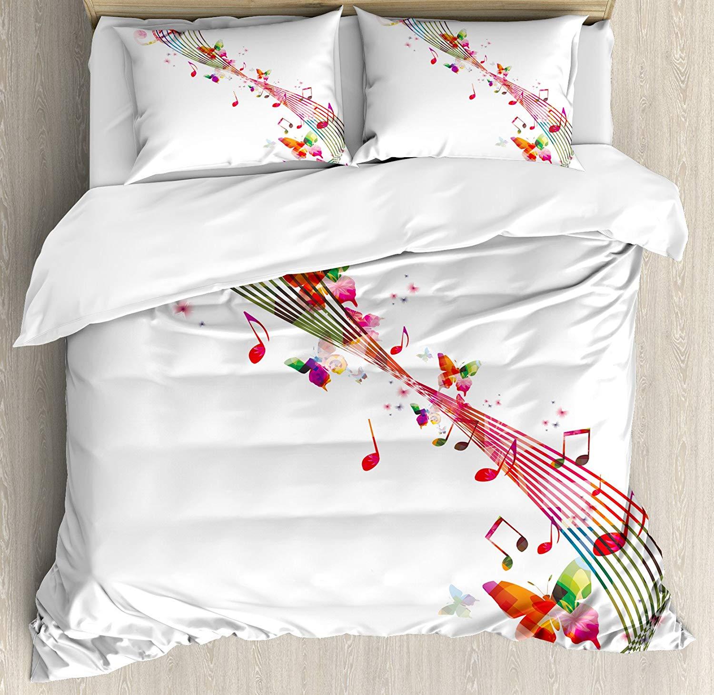 Musique décor housse de couette ensemble coloré œuvre avec des Notes de musique papillons printemps fête décorative 4 pièces ensemble de literie