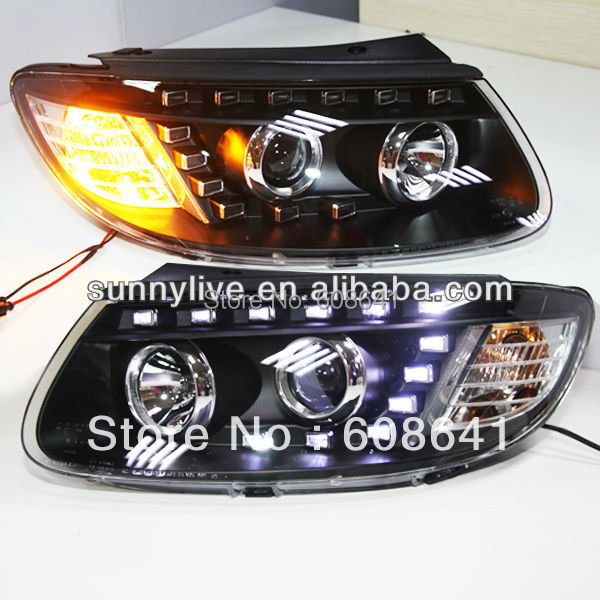 For 2006-2010 Hyundai Santa Fe LED Head Lamp With D2H 5000K HID kit headlamps for santa fe 2006 2010 headlamp with bi xenon projector v1headlights