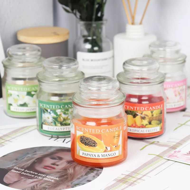 Creative cover glass jar scented candle Imported fragrance oil natural smokeless scent cup candle