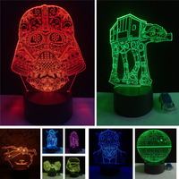Christmas Gifts Star Wars Trek Tie Fighter Veilleuse Black Knight Atmosphere 3D Lamp Boys Bedroom LED