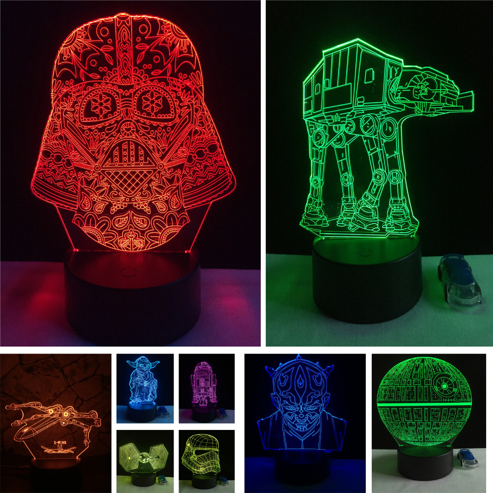 Christmas Gifts Star Wars Trek Tie Fighter Veilleuse Black Knight Atmosphere 3D Lamp Boys Bedroom LED RGB Illusion Night Lights