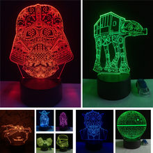 Christmas Gifts Star Wars Trek Tie Fighter Veilleuse Black Knight Smart 3D Lamp Boys Bedroom LED RGB Night Lights Toy Home Decor(China)