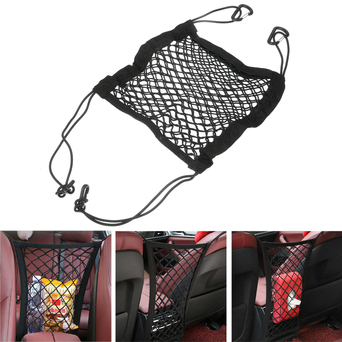 26cm 24cm Car Organizer Seat Back Storage Elastic Car Mesh Net Bag Between Bags Luggage Holder Pocket Car Styling in Stowing Tidying from Automobiles Motorcycles