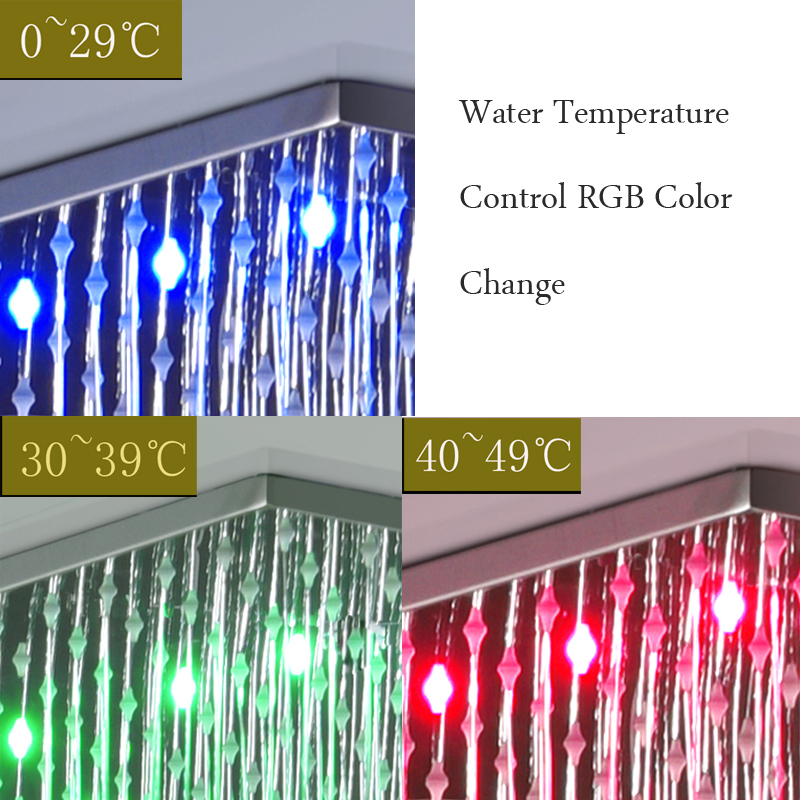 Modern Big Rain Shower Set Thermostatic Bath Mixing Valve 20 Inch Misty Square Shower Panel Head With Water Power LED Ligthts - 4