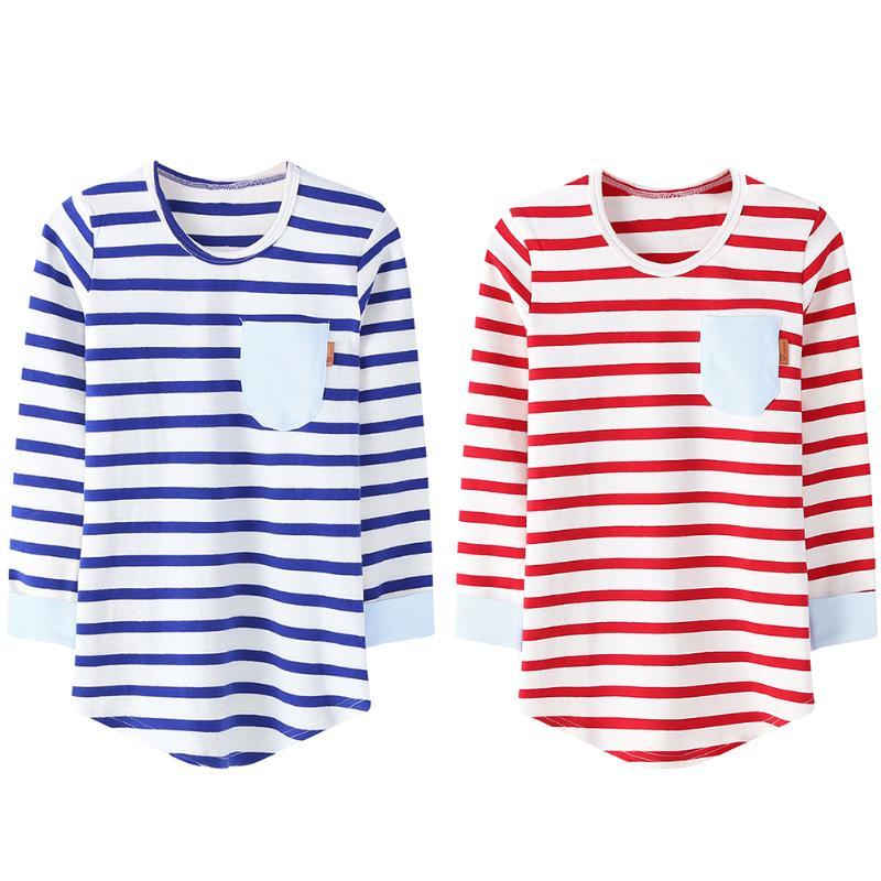 Kids Girls Boys Long Sleeves Stripe Elastic Bottoming T-shirt Pocket Shape Autumn Spring Winter Clothes Clothing