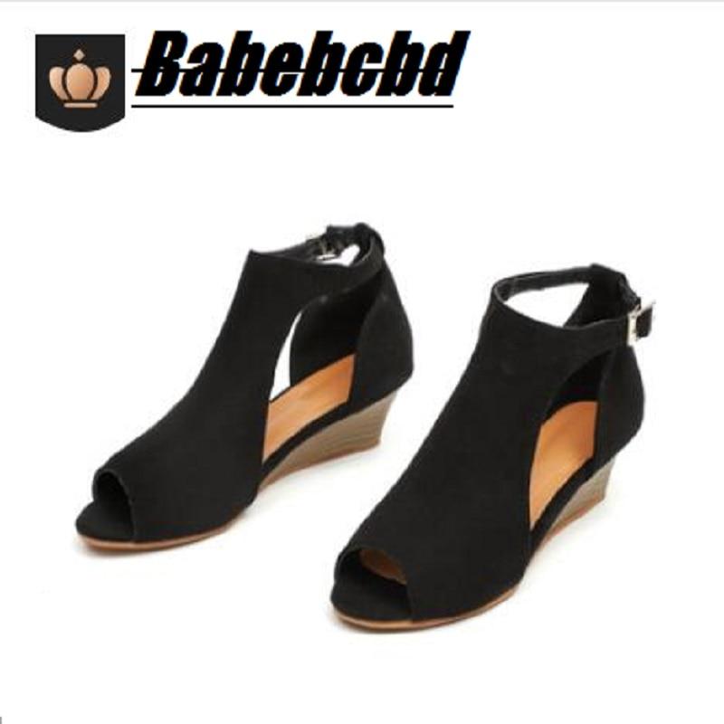 Wedge Sandals Hot-Style Summer Women's 35-43 Handmade Fish-Bill Big-Size