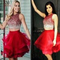 Индивидуальный заказ пикантные Роскошные Короткие бальные платья красный плюс размеры мини полуофициальное вечернее платье Выпускной кок