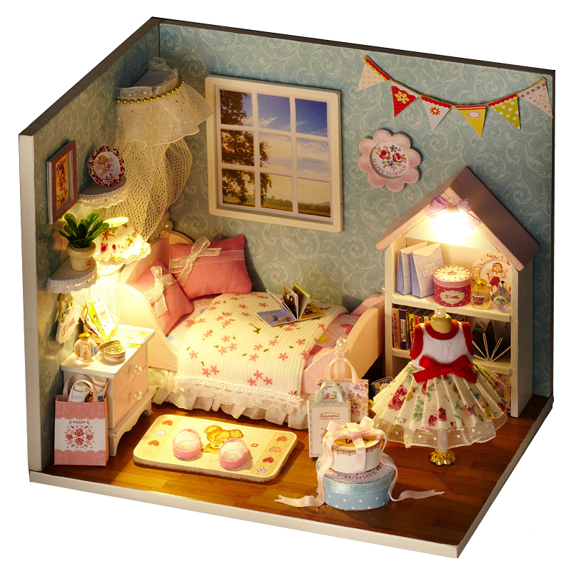 Elegant DIY Model Miniature Dollhouse With Furnitures LED 3D Wooden House Toys Handmade Crafts Gifts To Children H009 #D