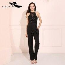Alagirls New Arrival Beading Prom Dress with long chiffon Pants Black Color Evening Dress Vestido de fiesta Formal Party Dress