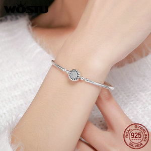 Image 3 - WOSTU New Collection 100% 925 Sterling Silver Bright Heart AAA Zircon Women Snake Chain Bracelet Sterling Silver Jewelry CQB059