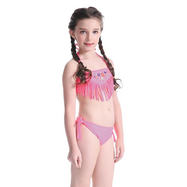 275627f8d2 US $12.95 26% OFF|Cute Children Swimming Suit Girls Two Piece Bikini Tassel  Embroidery Swimsuit Kids 2018 Summer Beach Wear Bathing Suits -in ...