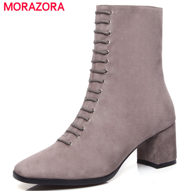 MORAZORA Ankle boots for women spring autumn high heels shoes fashion womens boots square toe kid suede large size 34-40
