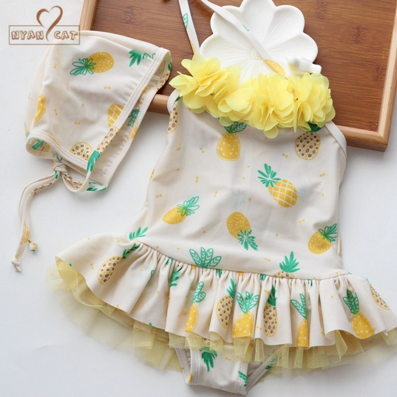 Nyan Cat new pineapple fruit lace ballerina skirt one-piece swimsuit with hat girls baby bathing vacation outfits