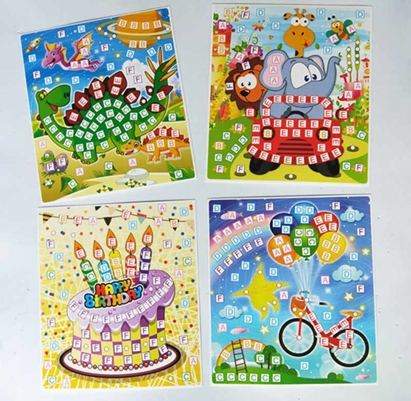 Happyxuan 8 Pictures Kid DIY Glitter Eva Mosaic Art Sticker Puzzle with Diamond Gift Set Preschool Education Creative Toy
