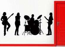 Muscis Jazz Band Con Tambores Silueta Arte Mural De la pared Serie de Música de Rock Pop Vinilo Casero Mural de La Decoración de La Manera DecalM-78
