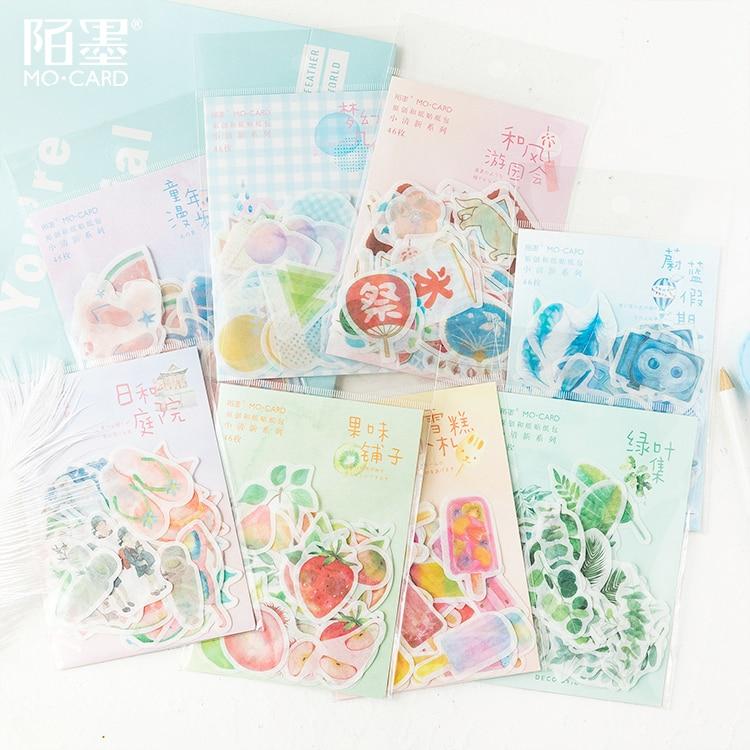 45pcs\Summer Small Fresh DIY Creative Fun Cute Cartoon Sticker Album Diary Calendar Scrapbook Student Stationery Office Supplies