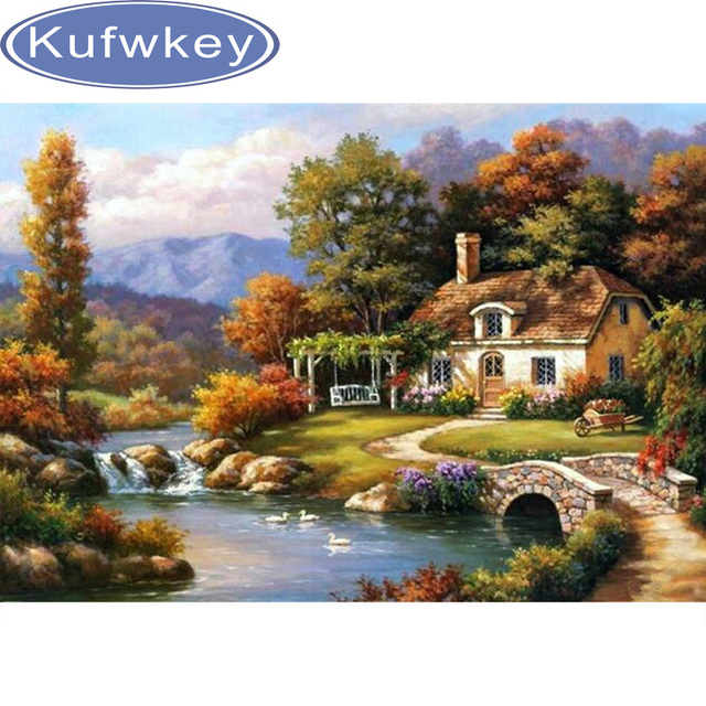 Craft Needlework Diy Handicrafts Village Landscape Diamond Painting