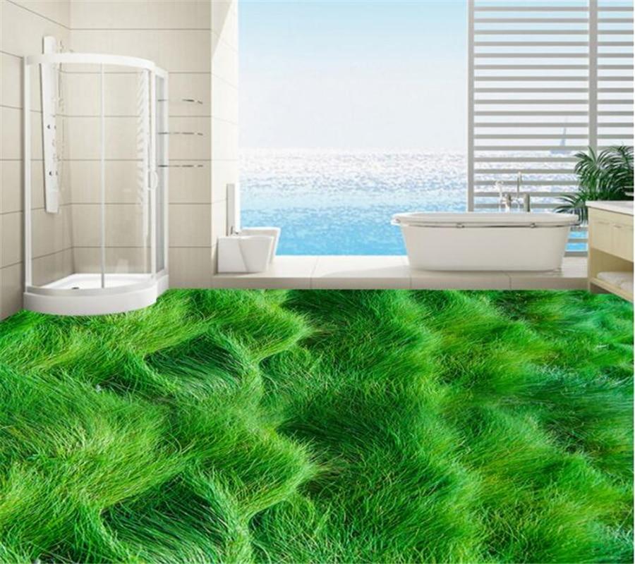 Large custom flooring Grass green plants floor painting bathroom home decoration Self-adhesive wallpaper 3d flooring Beibehang