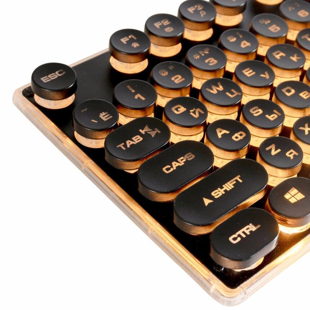Gaming Russische Tastatur Retro Runde Glowing Keycap Metall Panel Backlit USB Verdrahtete Metall Panel Beleuchtet Grenze Wasserdicht