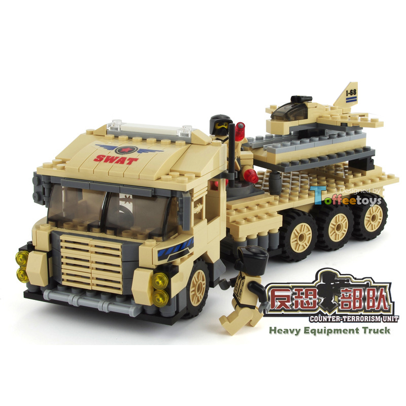 302pcs Military Series Children DIY Gift Heavy Equipment Truck Toy for Boys Enlighten Building Blocks Figures Bricks K0310-29012 380pcs fire branch city enlighten bricks toy for children ladder truck building blocks fire fighter figures boys gift k0411 910