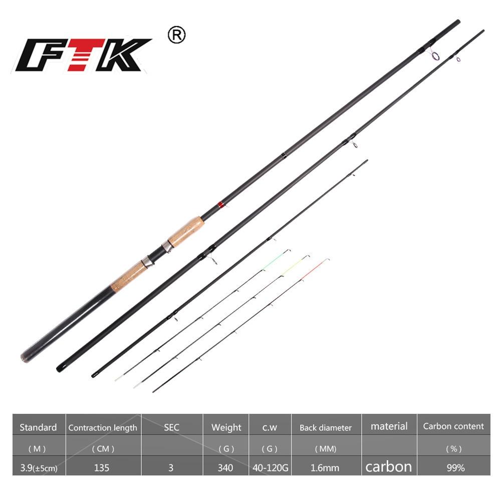 FTK 99% Alto Carbono Spining Haste Alimentador Vara De Pesca C.W. 40-120g Padrão 1.6mm Vara Super Pesado Equipamento De Pesca Da Carpa