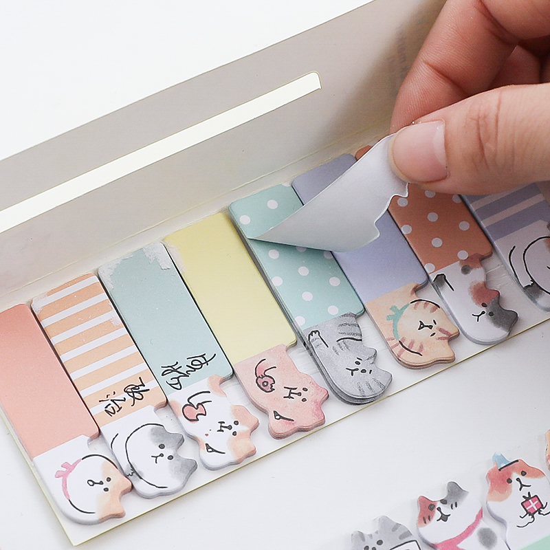 4 pcs Cute cat sticky note set Mini index sticker for diary planner agenda memo Bookmarks Office tools School supplies A6881 Karachi