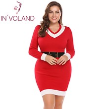 IN'VOLAND Big Size XL-5XL Women Pencil Dress Autumn Christmas Santa Pattern Pullover Sweater Large Bodycon Dresses Oversized