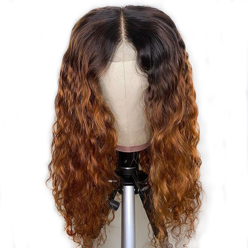 1B/27 Honey Blonde Curly 13X6 Deep Part Lace Front Human hair Wigs For Black Woman Ombre Colored Brazilian Remy Wig Preplucked
