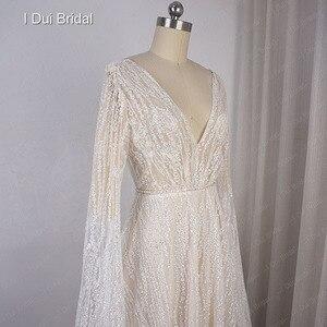 Image 4 - Vestido de novia Sparkle con manga larga hasta el suelo escote en V Línea A