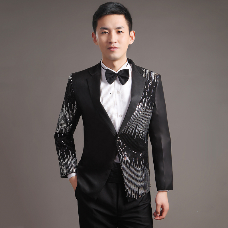 Moderator clothes paillette male master Sequin Dresses Stage Costumes Men terno Suit MC Host Clothing Singer